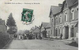 41 - SALBRIS - FAUBOURG DE BELLEVILLE - CARTE TRES ANIME - POSTEE EN 1910 POUR REUILLY - EDIT. G.M. - Salbris
