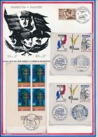 FRANCE - BLOCS DE TIMBRES OBLI 40E ANNIV VICTOIRE + 15E ANNIV MORT GNL DE GAULLE + LES FILS DES TUES + 40E ASS. GNL UFAC - Guerre Mondiale (Seconde)
