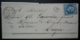 Ecommoy 1863 (Sarthe) Origine Rurale L'Hermitage GC 1375 Lettre Pour Angers - 1849-1876: Période Classique