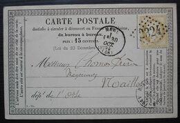 Méru 1875 (Oise) GC 2324 Sur Carte Précurseur De Henri Queyras Librairie Papeterie, étiquette Au Revers - 1849-1876: Période Classique