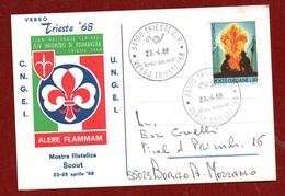 SCOUT - CARTOLINA TRIESTE 23/4/68 - CLAN NAZIONALE SENIORES XIV INCONTRO DI PRIMAVERA : ALERE FLAMMAM - Advertising