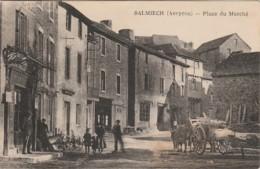 L27-12) SALMIECH (AVEYRON) PLACE DU MARCHE  - (ANIMEE - HABITANTS - BOEUFS - 2 SCANS) - Francia