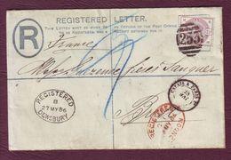 GRANDE-BRETAGNE - Lettre Recommandé DEWSBURRY Pour BREST, N° YT 79 - 1886 - Briefe U. Dokumente