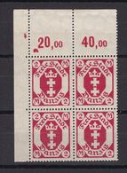 Danzig - 1922 - Michel Nr. 96 Viererblock P OR Ecke - Postfrisch - 25 Euro - Danzig