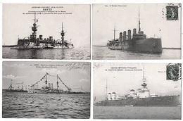 Lot 7 Cpa Marine De Guerre Navires Nommés 1910 Très Bon état - Equipment