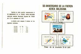 Bolivia, 50 Years Of Bolivian Air Force 1974 Special Folder B200725 - Bolivia