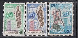 Laos - 1970 Anniversary UN Set Of 3 Mnh - Buddhismus