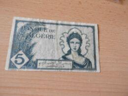 Bank Algerien 5 Francs 1942 Gebr. - Algerien