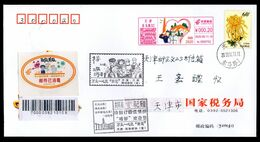 CHINA TianJin RARE Orange Disinfected Label On Cover With COVID-19 METTER & PMKs - Malattie