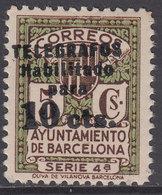 Barcelona Telegrafos 1936 Edifil 10 ** Mnh - Barcellona