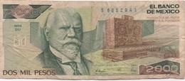 Mexique Mexico : 2000 Pesos 1989 Mauvais état - Mexique