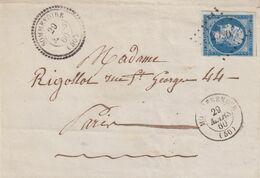 "FRANCE : PC 2920 . "" SOMMEVOIRE "" . (50) . N° 14 . POUR PARIS . TB . 1860 . LST . - Postmark Collection (Covers)"