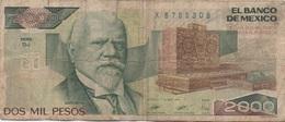 Mexique Mexico : 2000 Pesos 1989 Très Mauvais état - Mexique