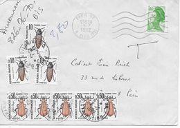 Lettre Taxée 1982 Avec Oblitération Paris 07 Sur  Gandon 1,40 Frs  T Manuscrit, Taxe 2,80 F Par 8 Timbres Série Insectes - Postage Due