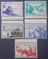 """R1337/390 - 1942 - L.V.F. - SERIE """" BORODINO """" (COMPLETE) - N°6 à 10 NEUFS** BdF - Libération"""