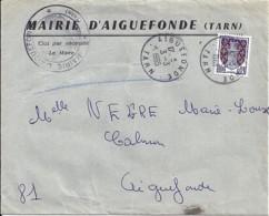 TYPE BLASON N°1351A SEUL SUR LETTRE DE MAIRIE (CARTE ELECTEUR Sans Doute) DE AIGUEFONDE/3.3.65 - 1941-66 Stemmi E Stendardi
