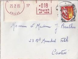 TYPE BLASON N°1353A + VIGNETTE DE GUICHET (0.18) SUR LETTRE DE FOIX RP/25.2.65 - 1941-66 Stemmi E Stendardi
