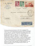GANDON CFA 1FR+2FR+ 20FR COMMINGES DEVANT LETTRE AVION SAINT DENIS 3.11.1950 REUNION - 1945-54 Marianne De Gandon