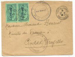 MARTINIQUE 2FR PAIRE FORT DE FRANCE 1942 +  GOUVERNEMENT ETAT FRANCAIS DE LA MARTINIQUE POUR TRUJILLO - Poststempel (Briefe)