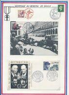 FRANCE - CARTE OBLI 40E ANNIV LIBERATION PARIS 08.84 + ENV. OBLI 40E ANNIV FIN DE LA GUERRE COLOMBES 8.5.85 - Guerre Mondiale (Seconde)