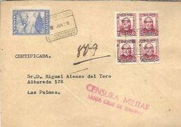 CENSURA SANTA CRUZ DE TENERIFE  PATRIOTICOS CANARIAS 1938 CENSURA - 1931-50 Storia Postale