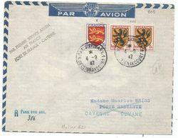 BLASON 20FR+5FR PAIRE LETTRE COVER REC PROVISOIRE PARIS XVIII 4.9.1947 POUR CAYENNE GUYANE FRANCAISE - 1941-66 Armoiries Et Blasons