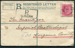1907 India Registered Letter Aligarh - Imperial Bacteriological Laboratory, Bareilly, Uttar Pradesh. Medical Research - 1902-11 King Edward VII