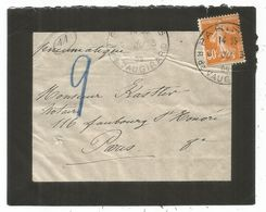 SEMEUSE 30C ORANGE SEUL LETTREDEUIL PNEUMATIQUE PARIS 1909  AU TARIF - Marcophilie (Lettres)