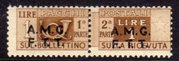 TRIESTE A 1947 1948 AMG-FTT SOPRASTAMPATO D'ITALIA ITALY OVERPRINTED PACCHI POSTALI PARCEL POST LIRE 1 MNH - Paketmarken/Konzessionen