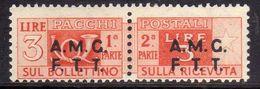 TRIESTE A 1947 -1948 AMG-FTT OVERPRINTED PACCHI POSTALI PARCEL POST LIRE 3 MNH - Paketmarken/Konzessionen