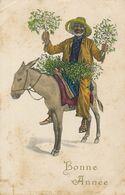 Promenade à Ane. Donkey Riding . Art Card . Black Guy With Mistletoe . Gui . Comtesse De Bonneval. Chaumont Tharonne - Burros