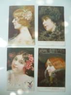 CPA / Lot De 4 Cartes Postales Anciennes Publicitaires / FERNET BRANCA Femmes Des Mois De L'année - Advertising