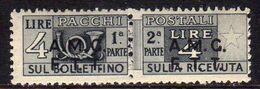 TRIESTE A 1947 1948 AMG-FTT SOPRASTAMPATO D'ITALIA ITALY OVERPRINTED PACCHI POSTALI LIRE 4 MNH - Paketmarken/Konzessionen