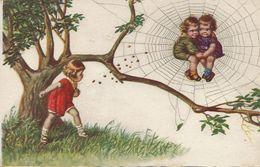 Araignée Spider Art Card   Surrealisme Petits Amoureux Dans Une Toile . Jalouse Lançant Des Cailloux - Insects