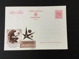 Carte Publibel Pour L'étranger N°9A Neuve : Expo 58 - Stamped Stationery