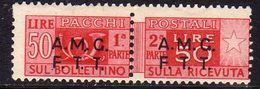 TRIESTE A 1947 -1948 AMG-FTT OVERPRINTED PACCHI POSTALI PARCEL POST LIRE 50 MNH VARIETY VARIETÀ - Paketmarken/Konzessionen