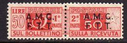 TRIESTE A 1947 -1948 AMG-FTT OVERPRINTED PACCHI POSTALI PARCEL POST LIRE 50 MNH - Paketmarken/Konzessionen