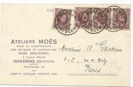 BELGIQUE 15C X4 CARTE PRIVEE ATELIERS MOES WAREMME 1925 - 1915-1920 Albert I.