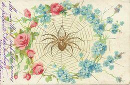 Araignée Spider Art Card Embossed With Flowers  Gaufrée ; Envoi Pension Minerva à Genève . Porte Bonheur - Insects