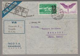 Schweiz Flugpost 1937-07-22 Zürich3 Luftpostbrief Nach Karachi Pakistan 10 + 100 Rp. - Airmail