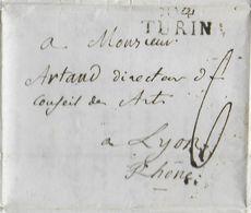 1811 - DEPARTEMENT CONQUIS : 85 ERIDAN / PO - LETTRE De TURIN Avec MARQUE LINEAIRE 12mm => LYON - 1792-1815: Conquered Departments