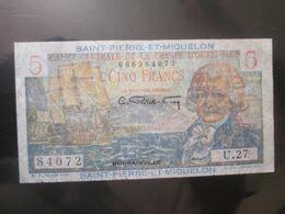 Rare! Saint-Pierre-Et-Miquelon,French Atlantic Territories(DOM-TOM) 5 Francs 1950-'60 Banknote Bougainville - Frankrijk