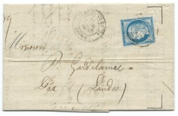 N° 60 BLEU CERES SUR LETTRE / PARIS PLACE DE LA BOURSE POUR DAX / 1876 - 1849-1876: Classic Period