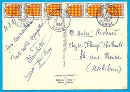 Timbre Blason ANGOUMOIS YT 1003 : Deux Bandes De 3 Sur CPSM Corse, Voyagé De Bonifacio à L'Ile Aux Moines 1957 - Francia