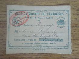 Carte D'adhésion à La Ligue Patriotique Des Françaises Du Comité De Brunoy, Avec étiquette De Cotisation Pour 1926 - Historical Documents