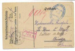 1916-  Courrier D'un Prisonnier Français Au Camp De LANDSHUT A. Isar   Contenu D'un Colis De Sa Cousine - ARIEGE  2 Scan - 1914-18