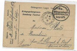 1918 Courrier D'un Adjudant  Prisonnier Français Au Camp De LANGENSALZA -détail De 2 Colis Reçu -censure- Voir 2 Scans - 1914-18