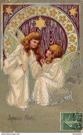 JOYEUX NOËL     .. Carte Gaufrée  .... Embossed - Anges