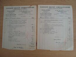 LOT DE 2 FACTURES GARAGE SAINT-CHRISTOPHE RUE JEAN-JAURES MONTARGIS 1948 - Automobilismo