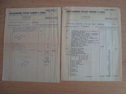 LOT DE 2 FACTURES GARAGE CARRIER & Cie CONCESSIONNAIRE PANHARD & SOMUA  MONTARGIS 1952 54 - Automobilismo